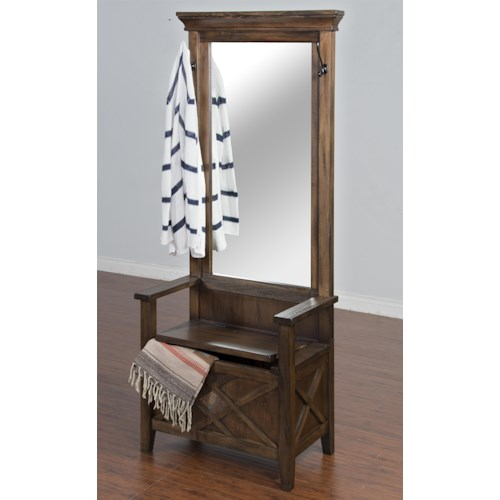 Sunny Designs Savannah Hall Tree with Storage Bench, Mirror, and Hooks