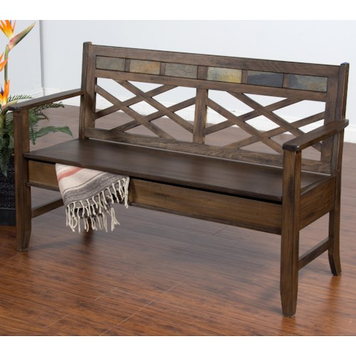 Sunny Designs Savannah Distressed Walnut Veneer Bench w/ Storage and Slate Accents