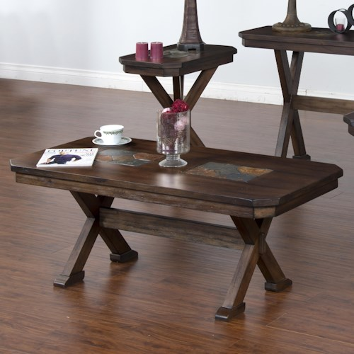Sunny Designs Savannah Coffee Table with Trestle Base & Inset Slate