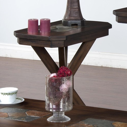 Sunny Designs Savannah Chair Side Table with Pedestal Base & Inset Slate