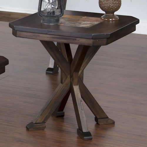 Sunny Designs Savannah End Table with Pedestal Base & Inset Slate