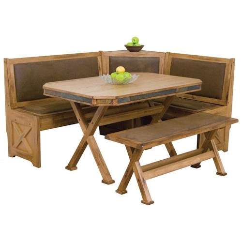 Morris Home Furnishings From Morris Home Furnishings - Oxton Breakfast Nook Set with Upholstered Seats & Slate Tile