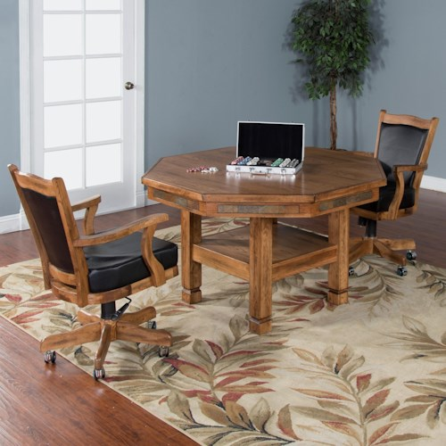 Sunny Designs Sedona 3-Piece Reversible Top Game & Dining Table Set