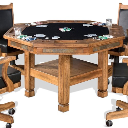 Sunny Designs Sedona Reversible Top Game & Dining Table with Shelf