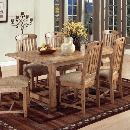 Sunny Designs Sedona Solid Oak Top Extension Table with 2 Leaves