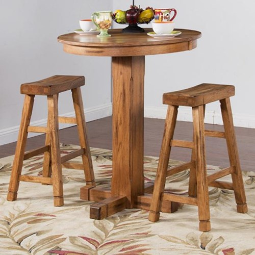 Sunny Designs Sedona Rustic Oak 3 Piece Bar Set with Saddle Seat Stools