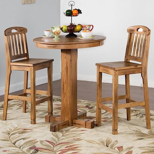 Sunny Designs Sedona Rustic Oak 3 Piece Bar Set with Slatback Stools