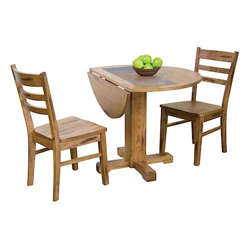 Sunny Designs Sedona 3-Piece Drop Leaf Table w/ Slate & Chair Set