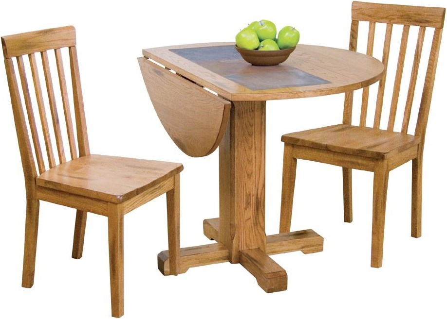 Shown as table set with slatback chairs