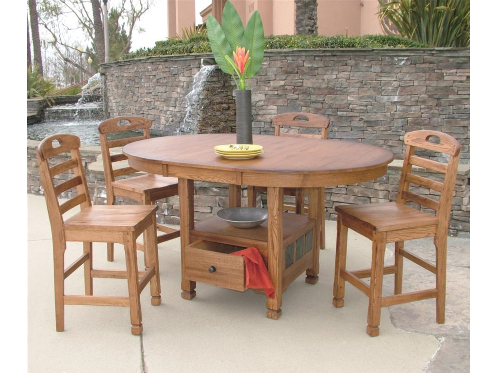 sunny designs sedona rustic oak butterfly table with storage old brick furniture pub tables: designs sedona table top base