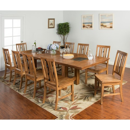 Sunny Designs Sedona 11-Piece Adj. Height Dining Table Set with Butterfly Leaf