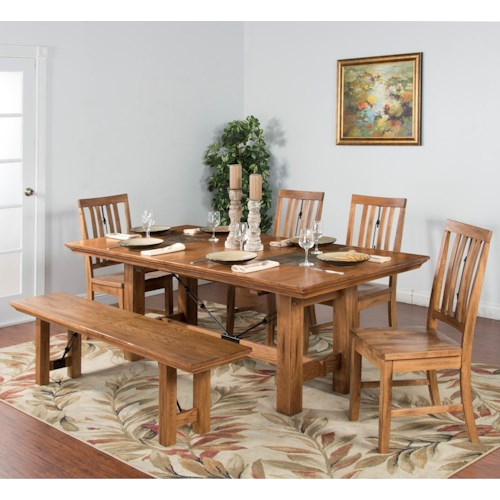 Sunny Designs Sedona 6-Piece Adj. Height Dining Table Set with Bench