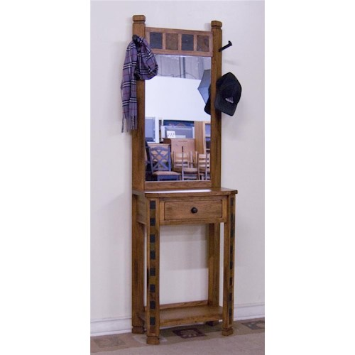 Sunny Designs Sedona Hat Rack with Slat Tile, Mirror, and Drawer