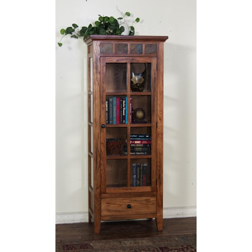 Sunny Designs Sedona Curio Cabinet with Drawer and Shelf Storage