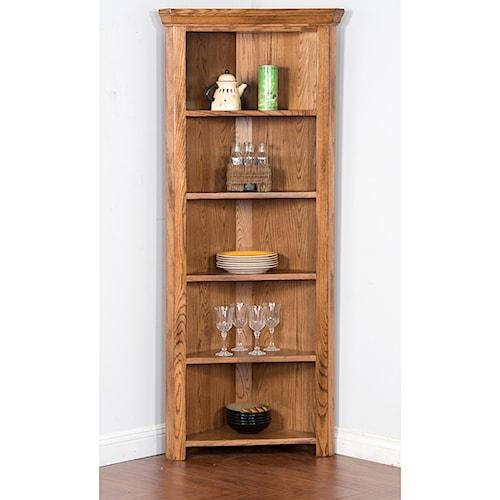 Sunny Designs Sedona Corner Curio/ Bookcase with 5 Shelves