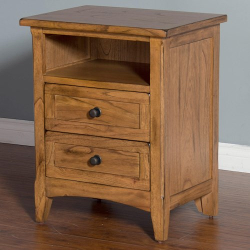 Sunny Designs Sedona Night Stand with 2 Drawers and 1 Shelf