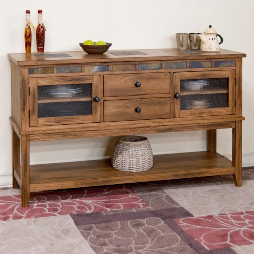 Sunny Designs Sedona Rustic Oak Server w/ 2 Drawers and Slate Tile