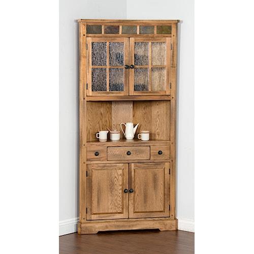 Sunny Designs Sedona Oak Corner China Cabinet  with Slate