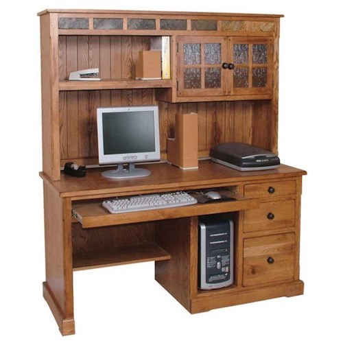 Sunny Designs Sedona Rustic Oak Computer Desk and Hutch