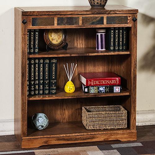 Sunny Designs Sedona Distressed Oak 3-Shelf Bookcase with Slate