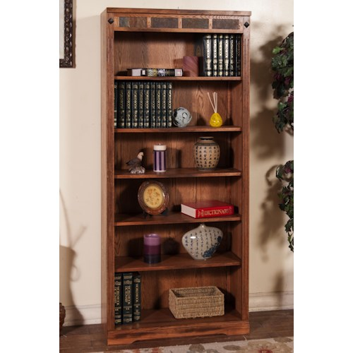 Sunny Designs Sedona Distressed Oak 6-Shelf Bookcase with Slate