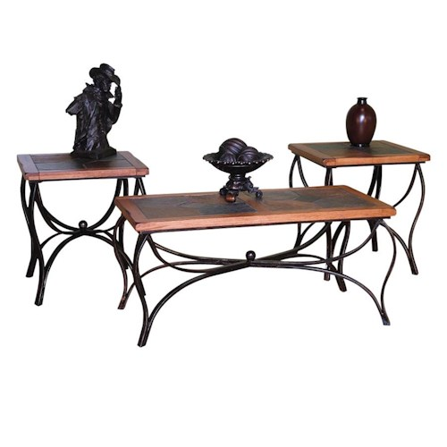 Sunny Designs Sedona 3-Pack Occasional Table Set w/ Slate Tops and Metal Bases