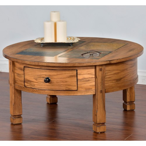 Sunny Designs Sedona Round Coffee Table with Slate Tiles & 2 Drawers