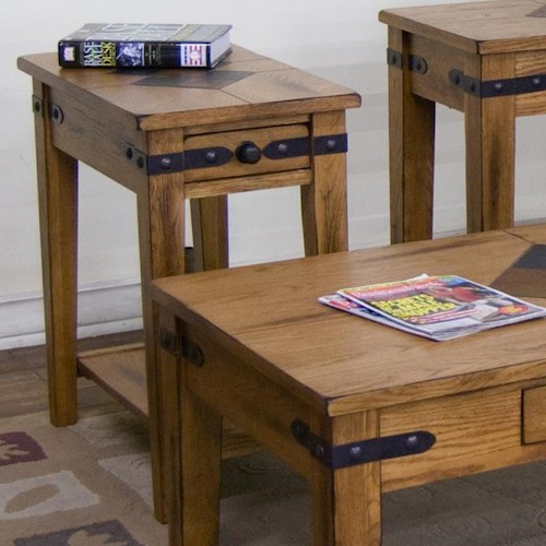 Sunny Designs Sedona Chair Side Table w/ Drawer and Shelf