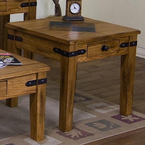 Sunny Designs Sedona End Table w/ Drawer & Slate Tile Top