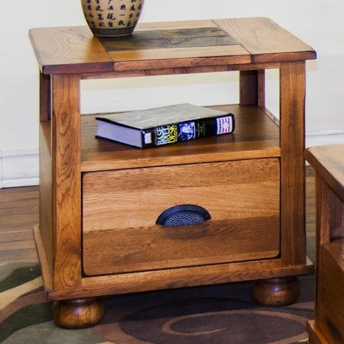 Sunny Designs Sedona End Table w/ Drawer and Slate Top