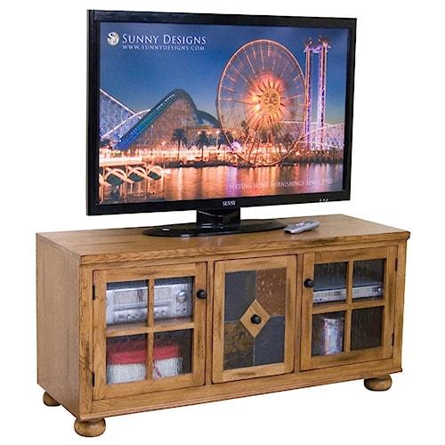 Sunny Designs Sedona TV Console w/ Combo Door Slate Panel