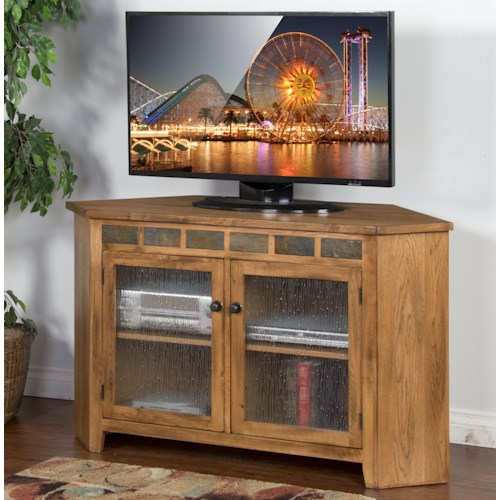 Sunny Designs Sedona Corner TV Console w/ Slate Tiles