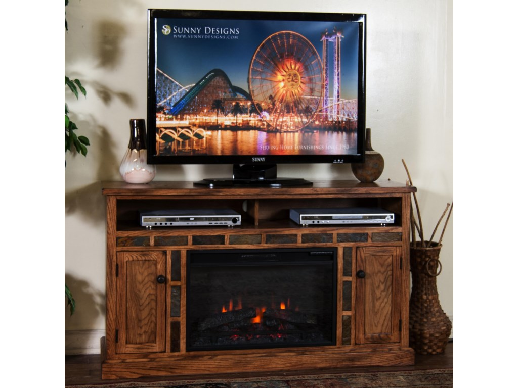 This item is on display in our showroom or stocked in our warehouse,  however fabrics or color in the picture may vary from actual product in the  store. - Sunny Designs Sedona Distressed Oak Fireplace TV Console W/ 26
