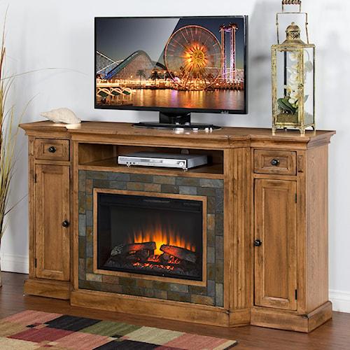 Sunny Designs Sedona Distressed Oak Fireplace TV Console w/  26