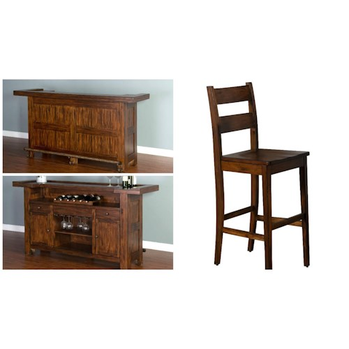Morris Home Furnishings Tremont 3-Piece Bar Set includes Bar and 2 Bar stools