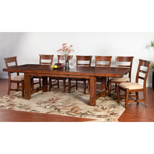 Sunny Designs Tuscany Distressed Mahogany 8-Piece Extension Table Set