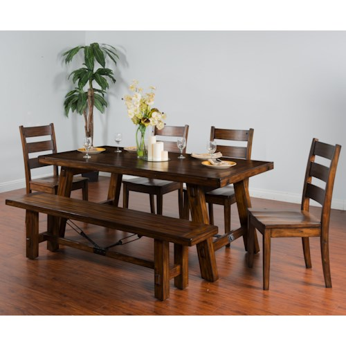 Sunny Designs Tuscany Distressed Mahogany 6-Piece Extension Table w/ Turnbuckle Set with Bench