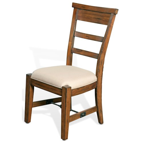 Sunny Designs Tuscany Distressed Mahogany Side Chair with Ladderback and Upholstered Seat