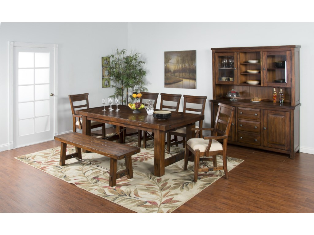 sunny designs tuscany dining bench with wood seat and metal turnbuckle stretcher old brick furniture bench dining benches - Old Brick Dining Room Sets