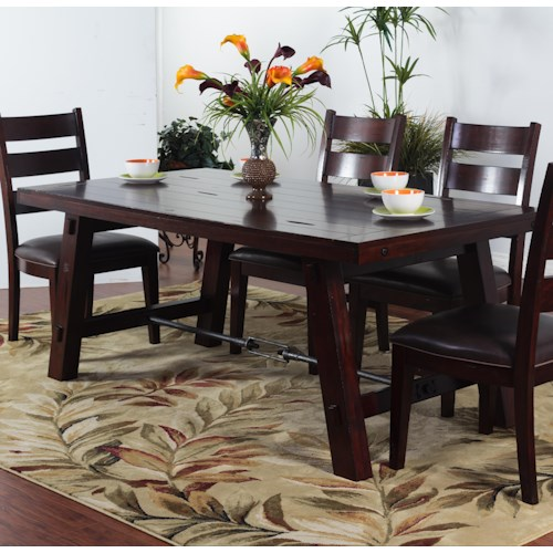 Sunny Designs Vineyard Solid Mahogany Rectangular Table with Turnbuckle Stretcher