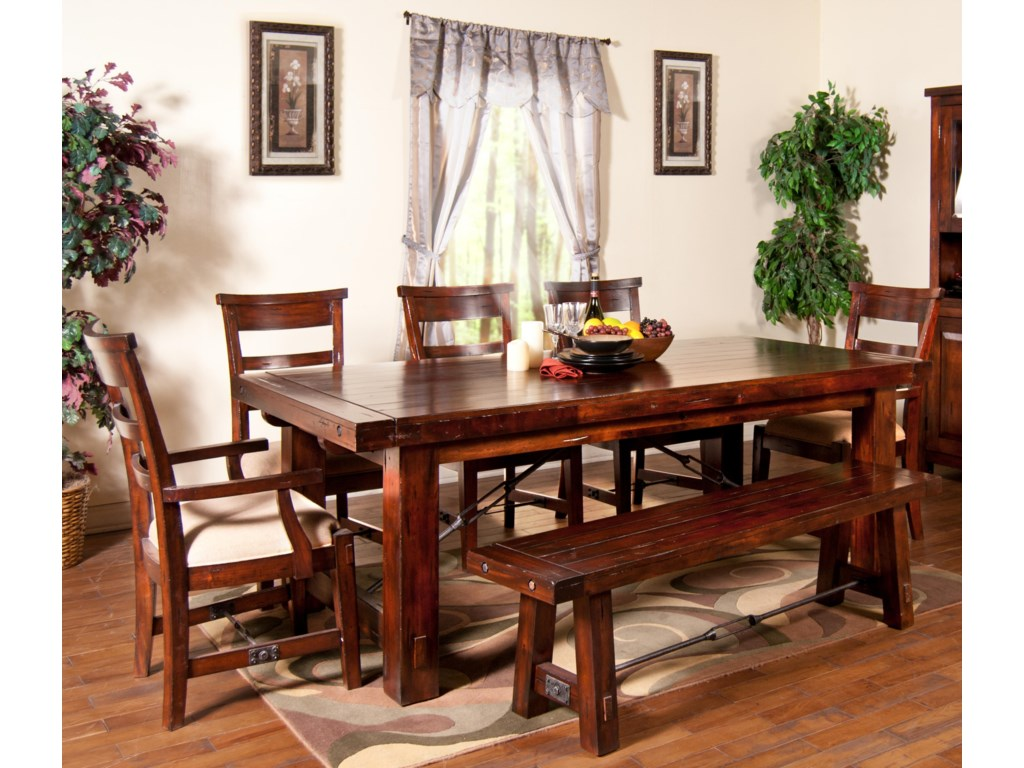 Shown with Arm Chairs, Bench, and Table