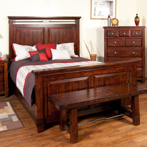 Sunny Designs Vineyard Queen-Size Panel Bed with Carved Panel Detail