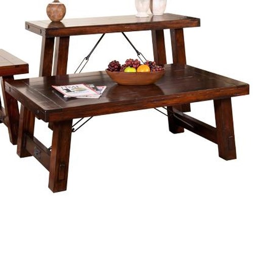 Sunny Designs Vineyard Distressed Mahogany Coffee Table with Industrial Turnbuckles