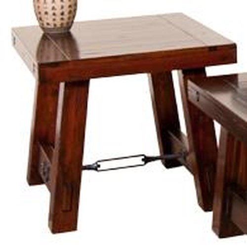 Sunny Designs Vineyard Distressed Mahogany End Table with Industrial Turnbuckle