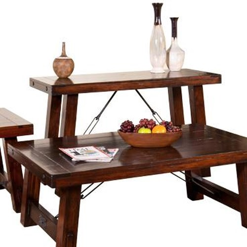 Sunny Designs Vineyard Distressed Mahogany Sofa/Console Table with Industrial Turnbuckle