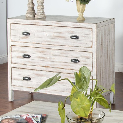 Sunny Designs White Bachelors Chest with 3 Drawers