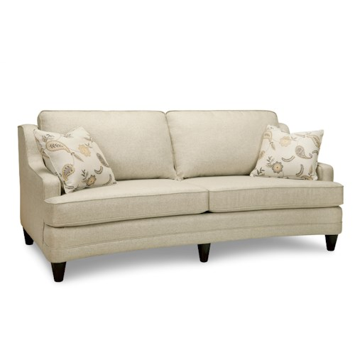 Superstyle 9691 Transitional Curved Sofa with 2 Toss Pillows
