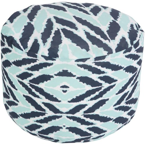 Surya Poufs Arrow Aqua Outdoor Pouf