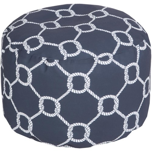 Surya Rugs Poufs Rope Trellis Navy Outdoor Pouf