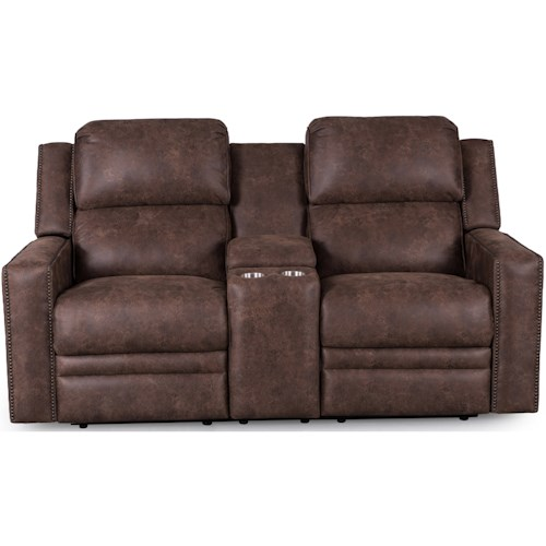 Synergy Home Furnishings 1340 Loveseat with Console and Power Headrest
